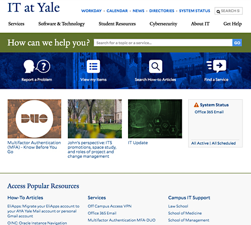 The Yale ITS website