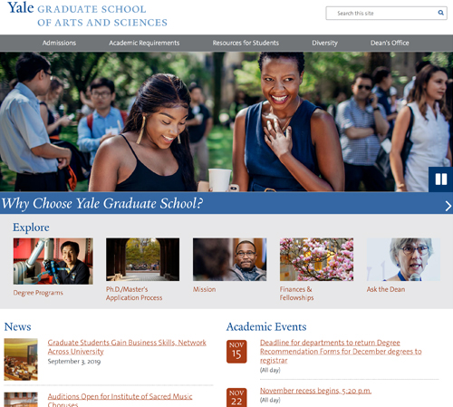 The Yale Graduate School of Arts and Sciences Website