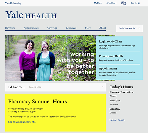 Yale Health website