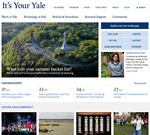 It's Your Yale website